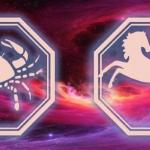 символ рака и лошади на фоне космоса