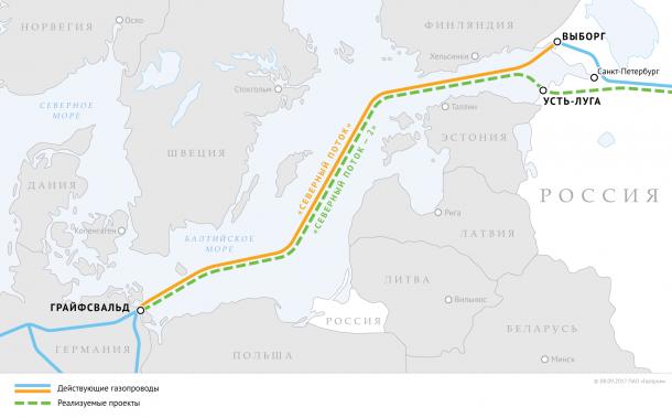 северный поток 2 карта